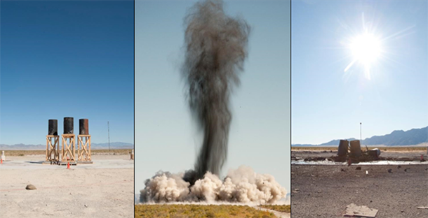 Dissemination of stimulants by explosives (Photo Credits: Dugway Proving Ground)
