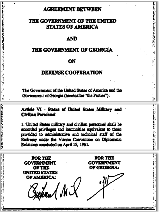The USA-Georgia agreement accords diplomatic status to the US military and civilian personnel (including diplomatic vehicles), working on the Pentagon program in Georgia.